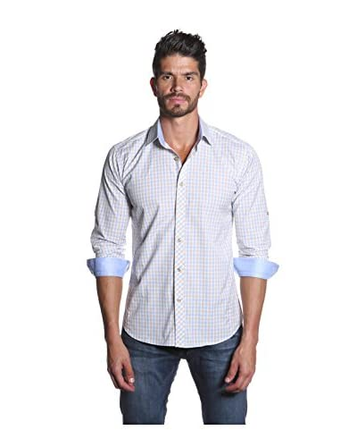 Jared Lang Men's Long Sleeve Shirt with Contrast Collar and Cuff