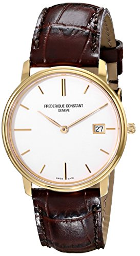 Frederique Constant Men's FC220NW4S5 Slim Line Analog Display Swiss Quartz Brown Watch image