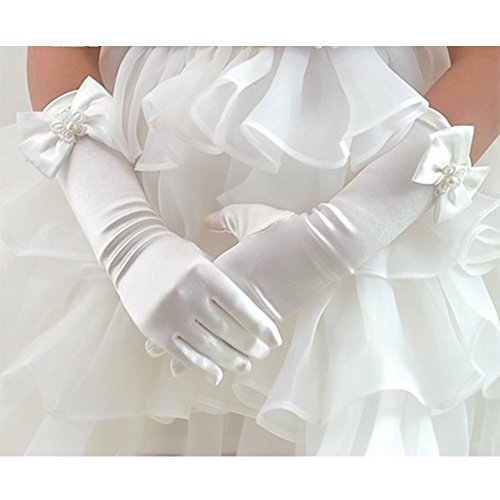 Tandi Favorite Girls Gorgeous Satin Fancy Stretch Dress Formal Pageant Party Long Gloves (Medium, White)
