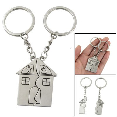 2 Pcs House Shape Magnetic Keychain Key Ring