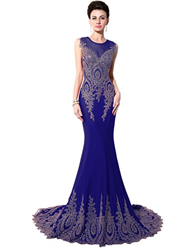 Favebridal Women's Long Formal Mermaid Gold Lace Evening Prom Dresses XU028RB-1
