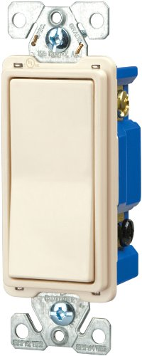 Cooper Wiring Devices 7504La-Box 15-Amp 120/277-Volt Standard Grade 4-Way Decorator Switch With Back, Push And Side Wiring, Light Almond Color