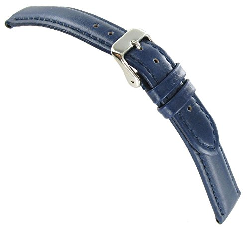 19Mm Debeer Genuine Soft Leather Navy Blue Padded Stitched Watch Band