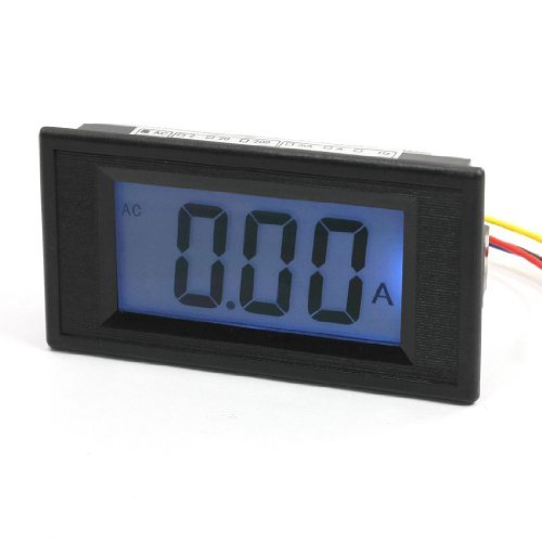 Water & Wood Ac 10A/75Mv 7 Segments Blue Lcd Display Current Tester Panel Ammeter