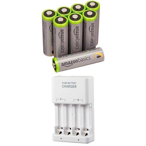 Amazonベーシック 高容量充電式ニッケル水素電池 充電器セット 単3形充電池8個パック付