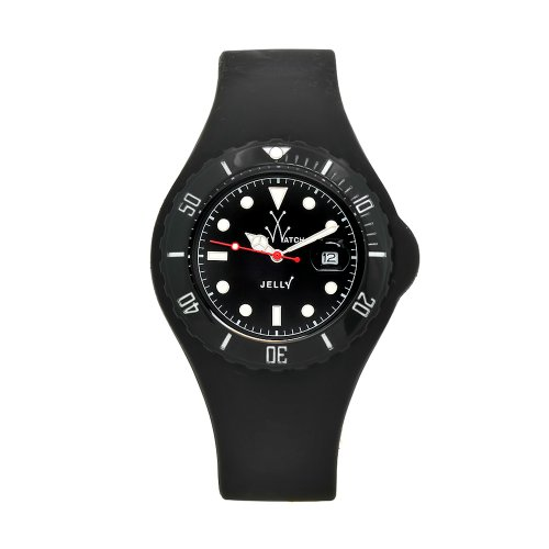 Toy Men's JYBKS|BLK Jelly Black Silicone Strap Black Dial Watch