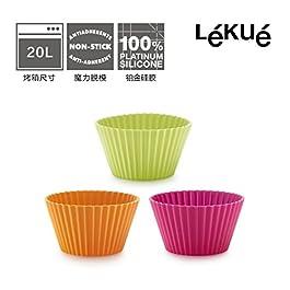 Lékué Classic - Bases para magdalenas, 7 cm, set de 6, color magenta/naranja/verde