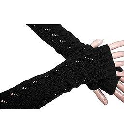 FuzzyGreen® Lady Women Girl Winter Warmer Long Stretch Weave Knit Arm Warmer Fingerless Hollow Out Gloves Crochet Warmer-Black