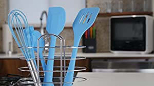 Kitchen Utensils - Vesper's Kitchen - Set of 5 - Silicone Kitchen Utensils Includes Two Spatulas, Whisk, Basting Brush and Slotted Turner.