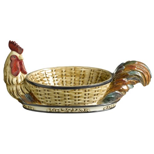 Grasslands Road Cucina Rooster Bowl, 8-Inch by 17-Inch by