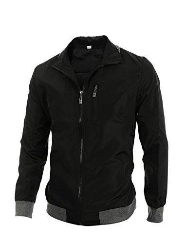 Allegra K Mens Convertible Collar Rib Knit Trim Zip Up Jackets Rib Trim Jacket