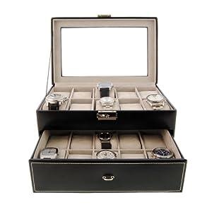 Uhrenschatulle aus Leder für 20 gross zifferblatt Uhren Farbe schwarz