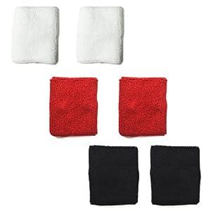 3 pairs of COSMOS ® Mia Fire tone cotton sports basketball wristband / sweatband wrist sweat band/brace-Red/Black/White