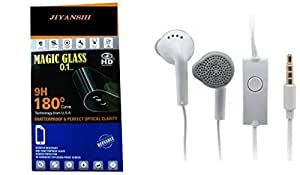 JIYANSHI combo of unbreakable screen guard & earphone white in ear. Compatible for One Plus X