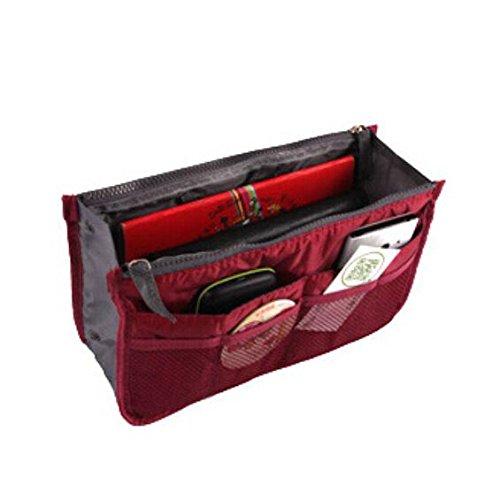 Liroyal-Borsetta portaoggetti da inserire nella borsa, ideale per ordine cosmetici e altri accessori da viaggio borsa per il trucco Wine Red