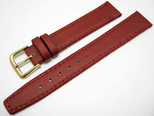 Red Leather Watch Strap Band With A Stitched Edging And Nubuck Lining 16mm