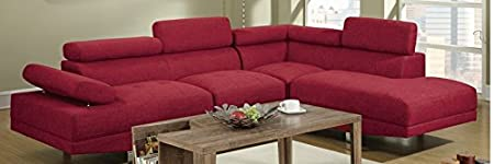 Poundex Red Linen Fabric Modern Sectional Sofa