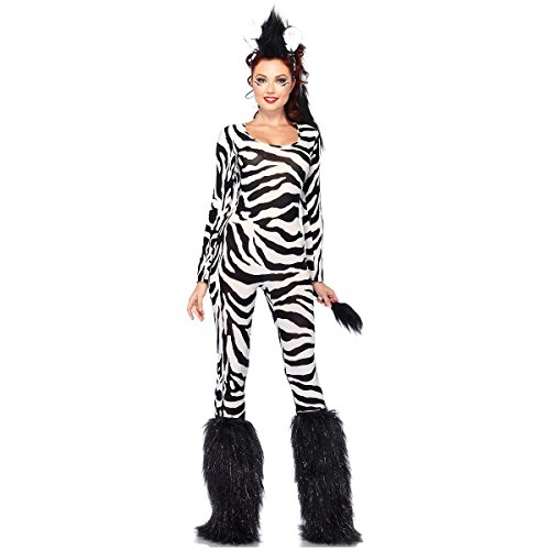 Wild Zebra Cat Suit Costume - Medium/Large - Dress Size 8-12 (Wild Zebra Adult Womens Costume)