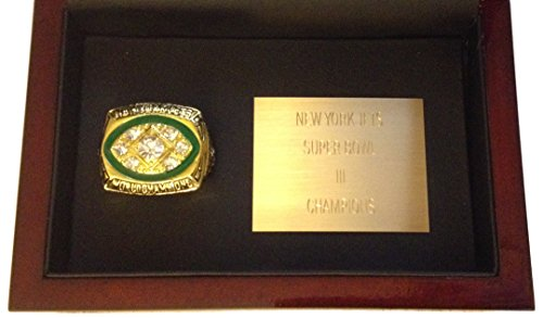 New York Jets 1968 Super Bowl Ring Display - Joe Namath Replica with Wood Case & Plaque - Cool Jets Football Memorabilia Super Bowl III Shipped from USA (Super Bowl Iii compare prices)