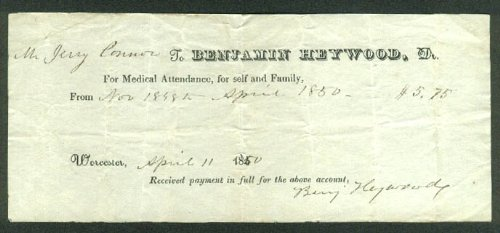Benjamin Heywood Md For Medical Attendance Doctor Bill Receipt $5.75 1850