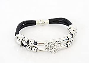 BC333 - Bracelet Aimanté Double Cordon Noir avec Perles et Charm Coeur Strass Argenté - Mode Fantaisie