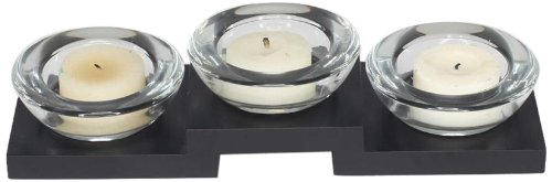 Housewares International 3-Candle Glass Candle Holder with Black Wooden Base