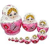Leegoal 10pcs New Beautiful Pink Wooden Russian Nesting Dolls Gift Matreshka Handmade