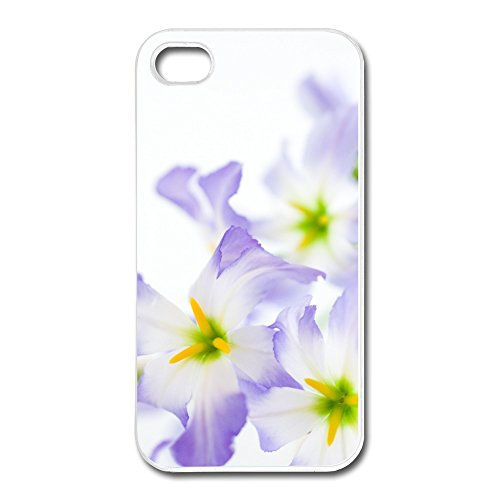 Customized Monogrammed Flowers White Background Iphone 4/4S Case