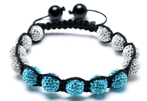 Alaska shamballa inspired bracelet | white and blue shamballa bracelet | clear and blue crystal bangle | women's shamballa bracelet | Cubic Zirconium Shamballa (by BAGATI CRYSTO)