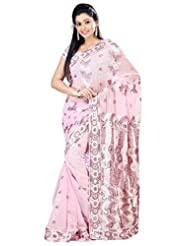 Designer Evoking Light Pink Colored Embroidered Faux Georgette Saree By Triveni