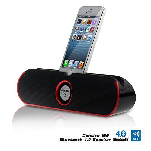 Contixo Portable Wireless Bluetooth v4.0 Stereo Speaker Stand w/ Viewing Cradle, Dual-Driver, Enhanced Bass Boost, Powerful Crystal-Clear Sound, Built in Mic Speaker System, 3.5mm AUX Port, Rechargeab