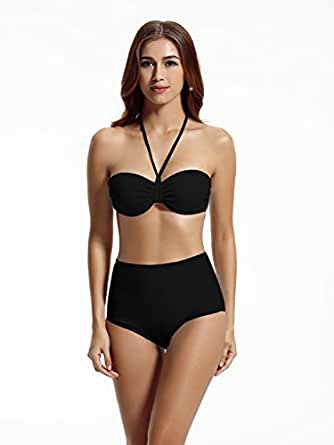 Zeraca Women's High Waisted Push up Bandeau Swimsuit Bikini Sets at