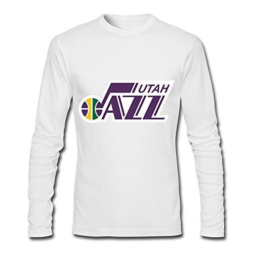 Utah jazz t shirt for man long sleeve xl white for Shirt printing stockton ca
