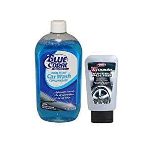 Blue Coral WC102 High Foam Car Wash Concentrate Soap & Black Magic 0907 Titanium Wheel Polish Car Care Combo Pack
