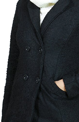 Classic Soft 4 Button Double Breasted Pea Coat with Pockets For Women (Large, Black-67914)