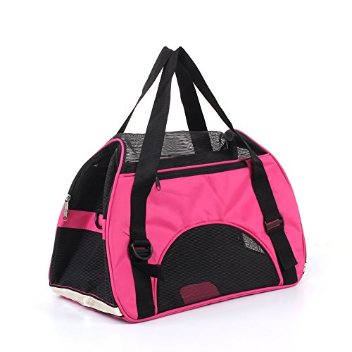 Amzdeal Medium Oxford Comfortable Pet Carrier Soft Sided Dog Carrier Portable Dog Travel Carrier Fabric Cat Carrier Pet Tote Bag Pet Travel Carrier (Pet Tote Carrier)