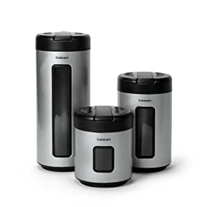 Cuisinart 3 piece storage canister set for Naaptol kitchen set 70 pieces