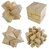 Wooden Set of 4 3D Jigsaw Puzzle Set Ornaments - Star, Cube, Cross & Sticks