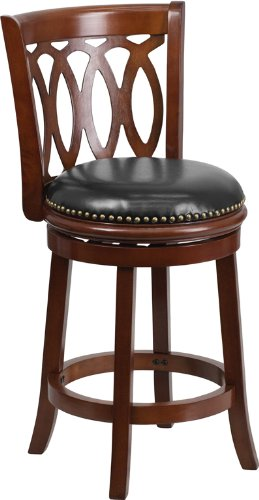 Flash Furniture TA-67024-CHY-CTR-GG Cherry Wood Counter Height Stool with Black Leather Swivel Seat, 24-Inch