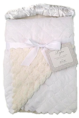 "Payton Collection Reversible Sherpa Baby Blanket ""Payton White"" - 1"