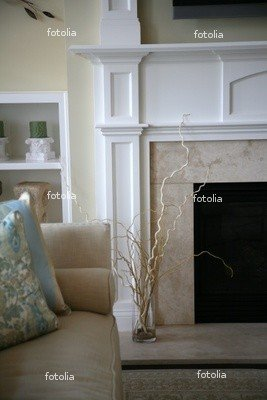"Wallmonkeys Peel and Stick Wall Graphic - Modern Fireplace Corner in a Cozy Home, Neutral Colors - 24""H x 16""W"