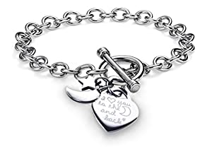 "High Polish Stainless Steel "" I Love You to the Moon and Back"" Heart Toggle 3 Charms Bracelet Chain 7.5"""