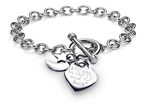 Charms Bracelet Heart Toggle I Love You To The Moon and Back Stainless Steel Chain 7.5""