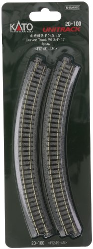 "Kato USA Model Train Products Unitrack, 249mm (9 3/4"") Radius 45-Degree Curve Track (4-Piece)"