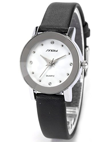 AMPM24 Crystal Small Case White Dial Lady Analog Black Leather Quartz Watch SNB024