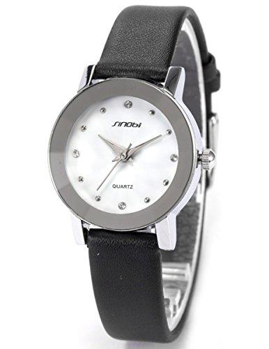 AMPM24 Crystal Small Case White Dial Lady Analog Black Leather Quartz Watch SNB024