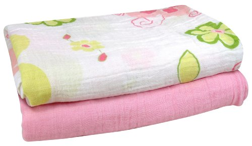 Stephan Baby Cotton Muslin Swaddle Blankets Gift Set, Solid Pink/Swirly Flower, 2 Piece - 1