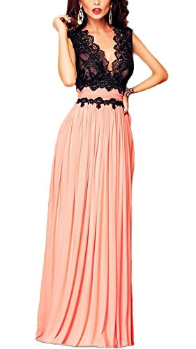 Roswear Sleeveless Deep-V Neck Lace Bodice Contrast Maxi Evening Dress Style-2