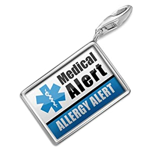 "NEONBLOND Charms Medical Alert Blue ""Allergy Alert"" - Bracelet Clip On from NEONBLOND Jewelry & Accessories"