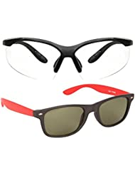 New Stylish UV Protected Combo Pack Of Sunglasses For Women / Girl ( ClearNightVision-RedWayfarer ) ( CM-SUN-072 )